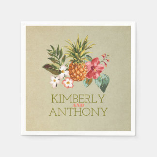 pineapple tropical beach destination wedding paper napkins