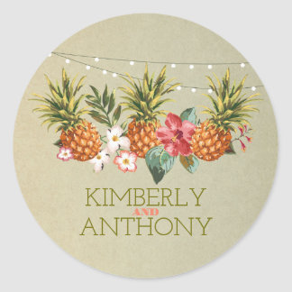 pineapple tropical beach wedding round sticker