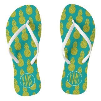 Pineapple Tropical Fruit | Monogram Flip Flops