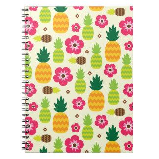 Pineapple Tropical Summer Seamless Pattern Notebook