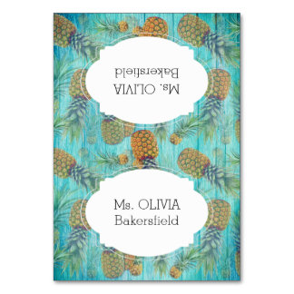 Pineapple Turquoise Tented Place Cards Names