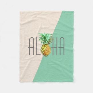 PineApple  Vintage Illustration Aloha Text Fleece Blanket