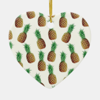 Pineapple Wallpaper Pattern Ceramic Ornament