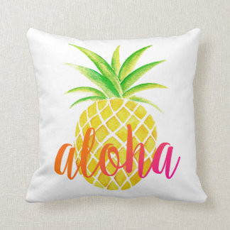 Pineapple Watercolor Aloha Tropical Pink Throw Pillow