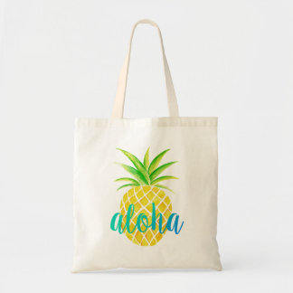 Pineapple Watercolor Aloha Tropical Turquoise Bag