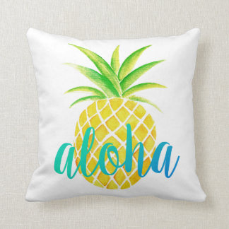 Pineapple Watercolor Aloha Tropical Turquoise Throw Pillow