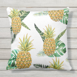 Pineapple Watercolor Outdoor Pillow