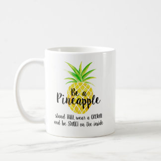 Pineapple Watercolor Stand Tall Wear a Crown Coffee Mug