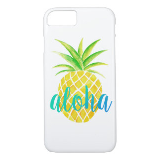 Pineapple Watercolor Tropical Aloha Turquoise Case-Mate iPhone Case