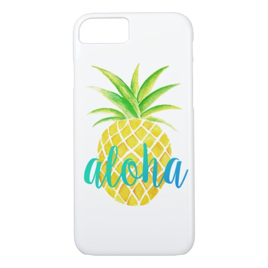 Pineapple Watercolor Tropical Aloha Turquoise iPhone 7 Case