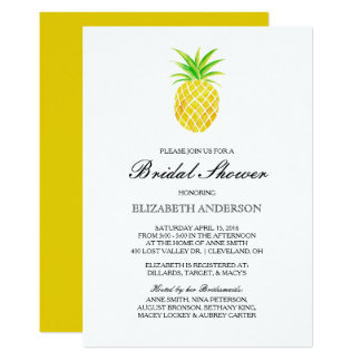 Pineapple Watercolor Tropical Bridal Shower Card