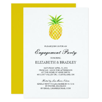 Pineapple Watercolor Tropical Engagement Party Card