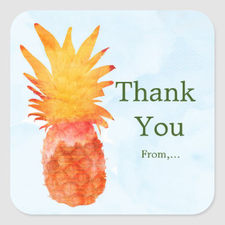 Pineapple Watercolor Tropical Luau Party Stickers