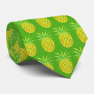 Pineapple Watercolor Tropical Neck Tie