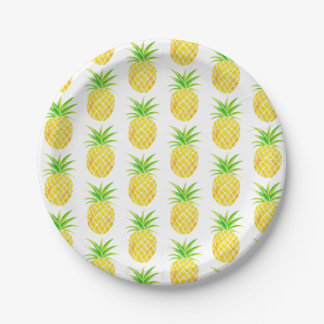 Pineapple Watercolor Tropical Paper Plate