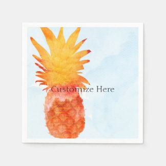Pineapple Watercolor Tropical Summer Party Disposable Napkins