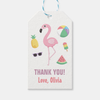Pineapple Watermelon Flamingo Thank You Gift Tags