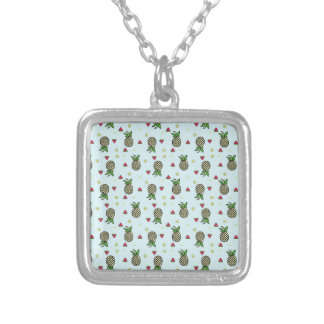 Pineapple Watermelon Fruit Lime Citron Tropical Silver Plated Necklace
