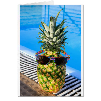 Pineapple wearing sunglasses at swimming pool card