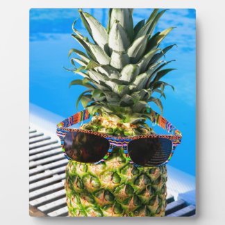 Pineapple wearing sunglasses at swimming pool plaque