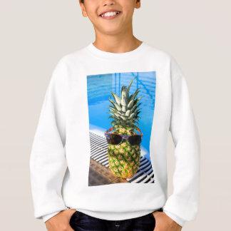 Pineapple wearing sunglasses at swimming pool sweatshirt