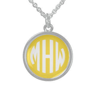 Pineapple White 3 Initials in a Circle Monogram Personalized Necklace