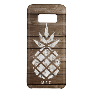 Pineapple, Whitewash on Faux Weathered Wood Case-Mate Samsung Galaxy S8 Case