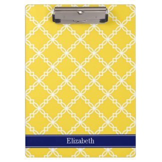 Pineapple Wht Fancy Quatrefoil Navy Name Monogram Clipboard