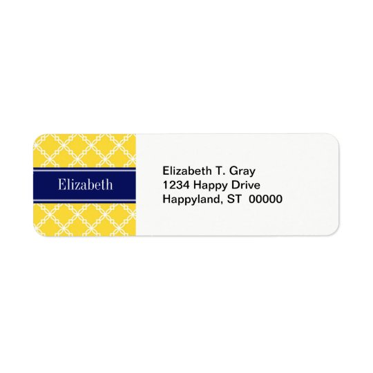 Pineapple Wht Fancy Quatrefoil Navy Name Monogram Return Address Label