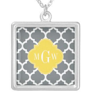 Pineapple Wht Moroccan #5 3 Initial Monogram Square Pendant Necklace