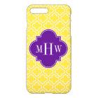 Pineapple Wht Moroccan #6 Purple 3 Init Monogram iPhone 8 Plus/7 Plus Case
