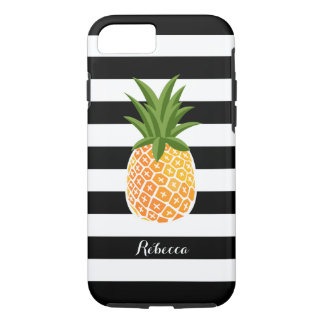 Pineapple with Black White Stripes Custom Name Case-Mate iPhone Case