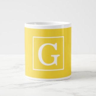 Pineapple Yellow White Framed Initial Monogram Jumbo Mug