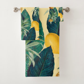 Pineapples And Lemons Cream Bath Towel Set