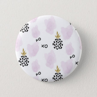 Pineapples and pink leopard print. XOXO 2 Inch Round Button