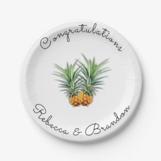 Pineapples Congratulations Newlyweds Paper Plates