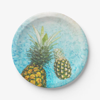 Pineapples in Swimming Pool 7 Inch Paper Plate