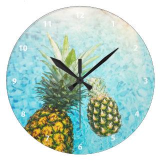 Pineapples in Swimming Pool Wall Clock