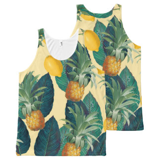 pineapples lemons yellow All-Over-Print tank top