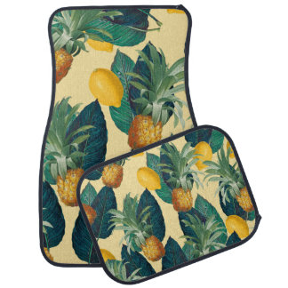 pineapples lemons yellow car mat