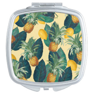 pineapples lemons yellow compact mirror