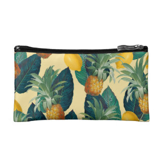 pineapples lemons yellow cosmetic bag