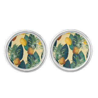 pineapples lemons yellow cufflinks