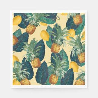 pineapples lemons yellow disposable napkin