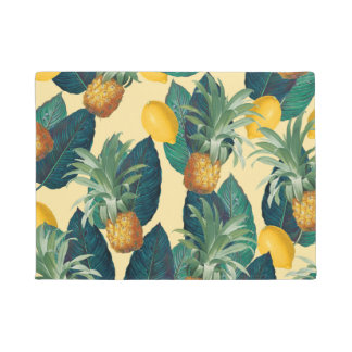 pineapples lemons yellow doormat