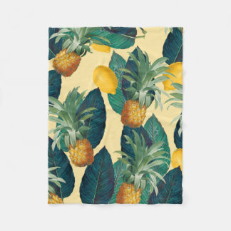 pineapples lemons yellow fleece blanket