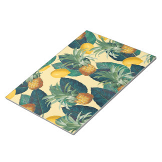 pineapples lemons yellow notepad