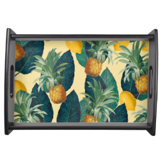 pineapples lemons yellow serving tray