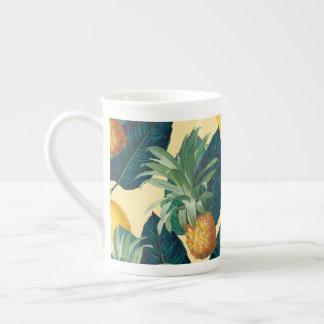 pineapples lemons yellow tea cup