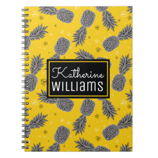 Pineapples On Gold | Add Your Name Note Books